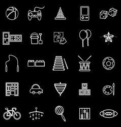 Toy line icons on black background vector