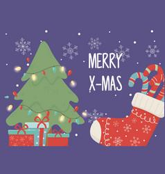tree lights celebration happy christmas vector image