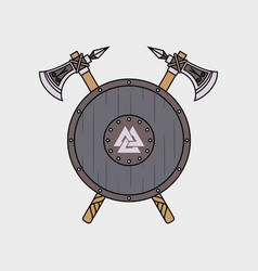 two poleaxes and a viking shield vector image