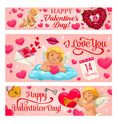 Valentine day cupid angel with hearts and flowers vector