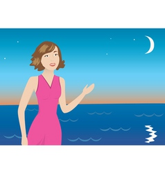 vector illustration with girl and sea and moon vector image