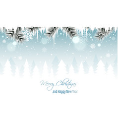 Winter landscape banner with branches icicles vector