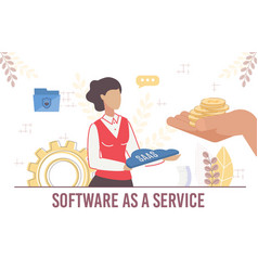Woman offer commercial secure software as service vector