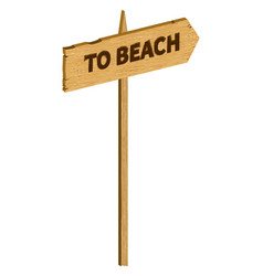 wooden to beach sign vector image