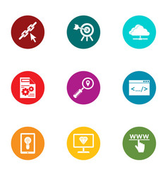 Work with information icons set flat style vector