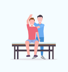 Young man sitting on table masseur therapist doing vector