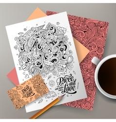 Cartoon doodles hippie corporate identity vector image
