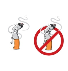 Cartoon sad cigarette butt character vector image