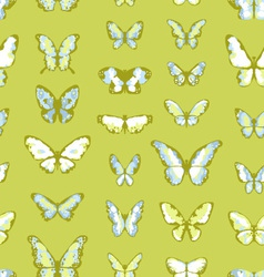 green seamless background with butterflies vector image