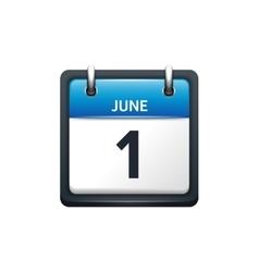June 1 Calendar icon flat vector image vector image