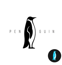 Penguin black silhouette logo Side view of a vector image
