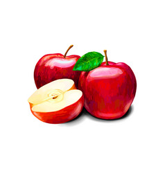 red apple sweet fruit vector image