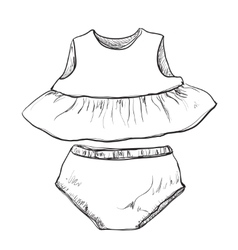 Baby clothes Dress and trunks vector image