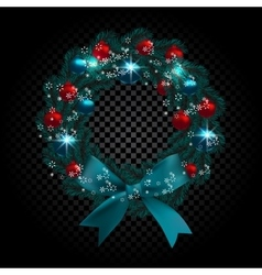 Blue tree branch in the form of a christmas wreath vector
