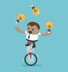 businessman riding bike one wheel play acrobatic vector image vector image