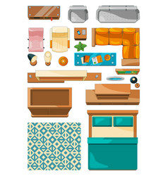 different icons of furniture top view vector image vector image