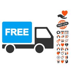 free delivery icon with valentine bonus vector image vector image