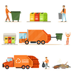 garbage collector at work series of vector image vector image