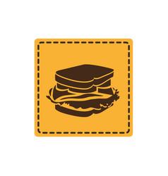 yellow emblem sticker sandwich icon vector image