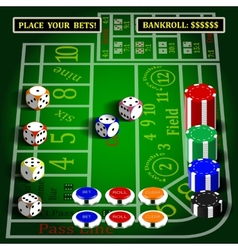 Casino dice game set vector image