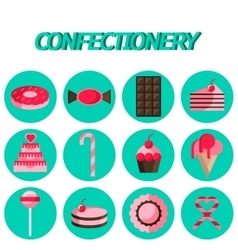 Confectionery flat icon set vector image vector image