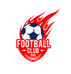 Football soccer club badge fire ball icon vector