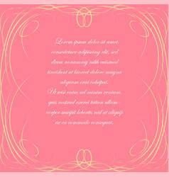 Pink background with elegant frame vector