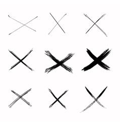 Set Abstract Sketch Black Crosses vector image