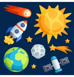 solar system planets and celestial bodies vector image