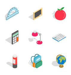 Stationery for study icons isometric 3d style vector