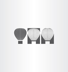 air balloon black icon set vector image