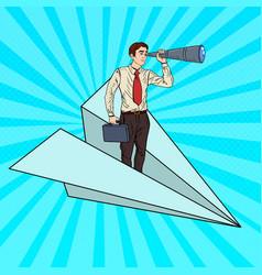 pop art businessman flying paper plane vector image