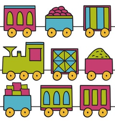 Trains seamless pattern vector image vector image