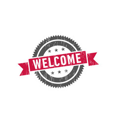 welcome stamp seal label logo vector image