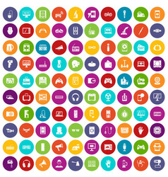 100 device app icons set color vector