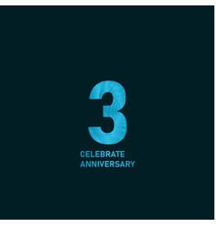 3 year anniversary aqua color template design vector