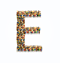 A group people in english alphabet letter e vector