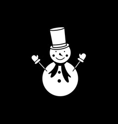 a snowman on the black background icon winter vector image