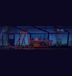 Abandoned greenhouse at night scary interior vector