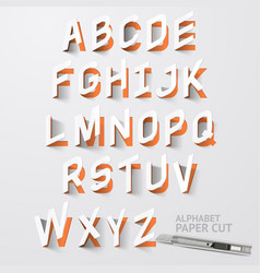 Alphabet paper cut designs vector