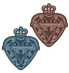 Ancient bottle or talisman in shape heart vector