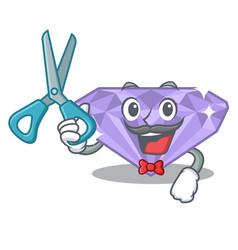 Barber violet diamond in mascot box vector