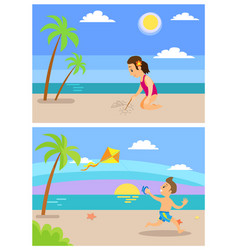 beach vacation children on holidays playing set vector image