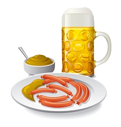 beer and sausages with mustard vector image