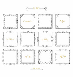 Black doodle line square frames emblem icons set vector