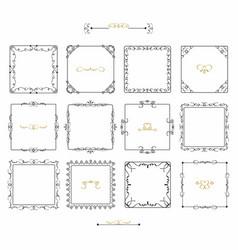 black doodle line square frames emblem icons set vector image