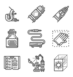 Black line icons for tattoo parlor vector image