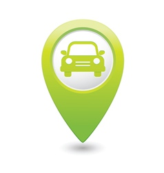 Car icon green map pointer vector