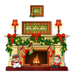 Christmas sketch with the fireplace with vector
