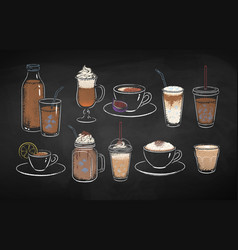 collection chalk drawn coffee drinks vector image